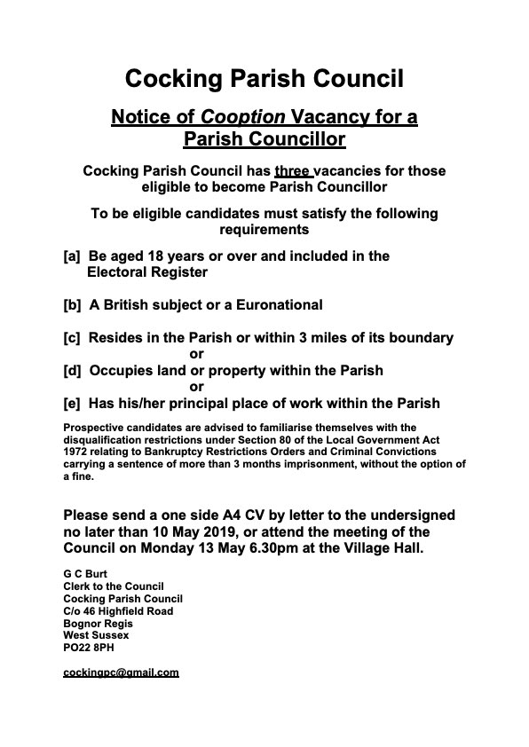 CPC Casual Vacancy Notice