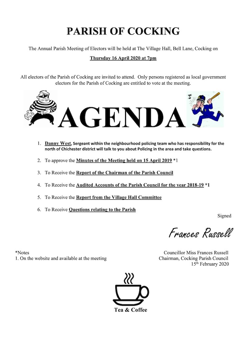 Cocking Electors Meeting Agenda, 2020